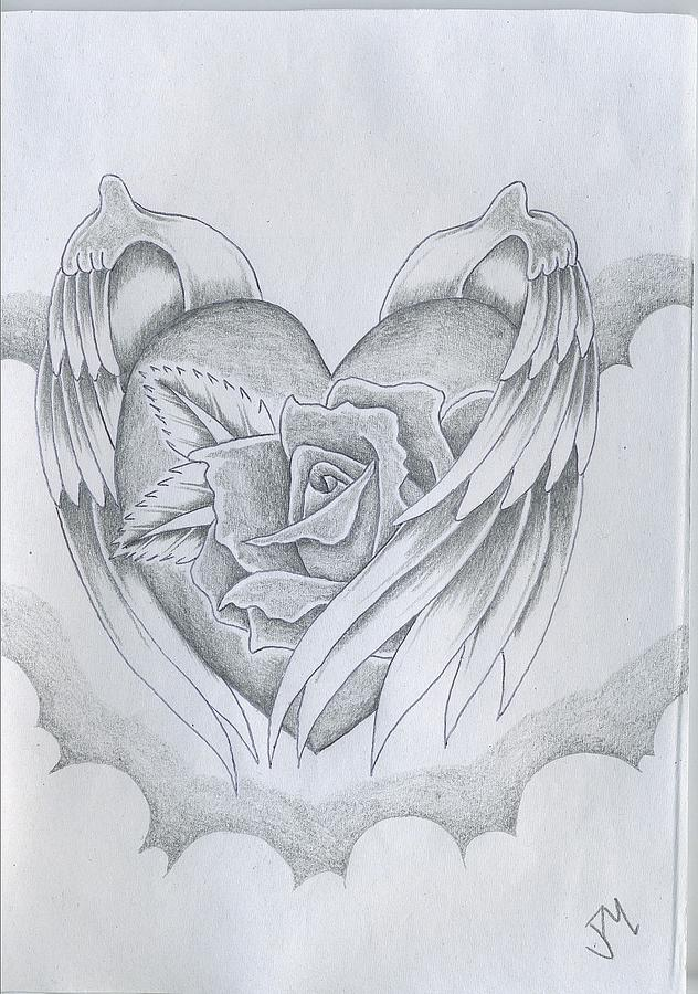 Wings Of Love Drawing by Justin Murdock