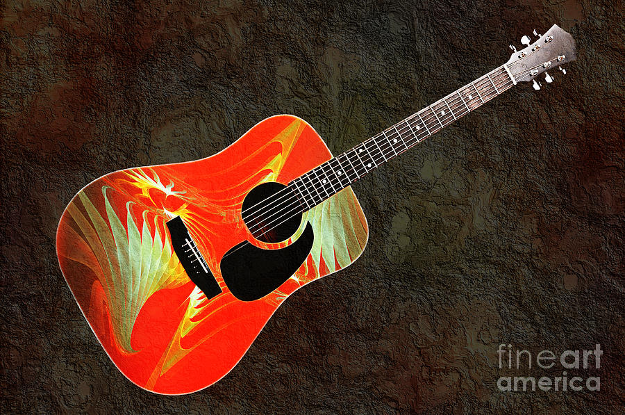 Guitar Photograph - Wings Of Paradise Abstract Guitar by Andee Design