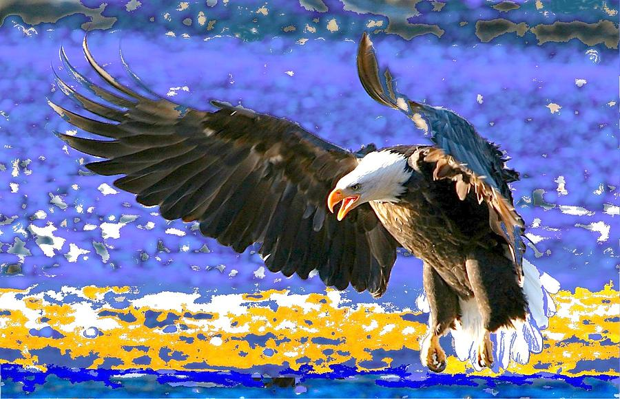 Bald Eagle Digital Art - Wings On High by Carrie OBrien Sibley