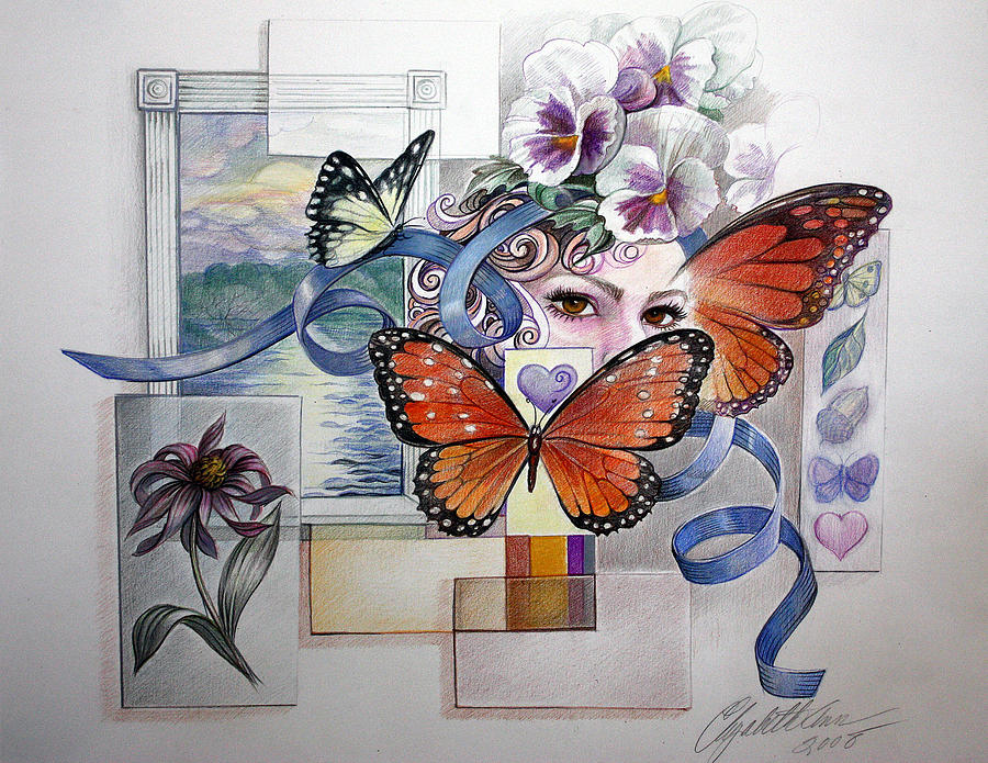 Energy Drawing Drawing - Wings With Hearts by Elizabeth Shafer