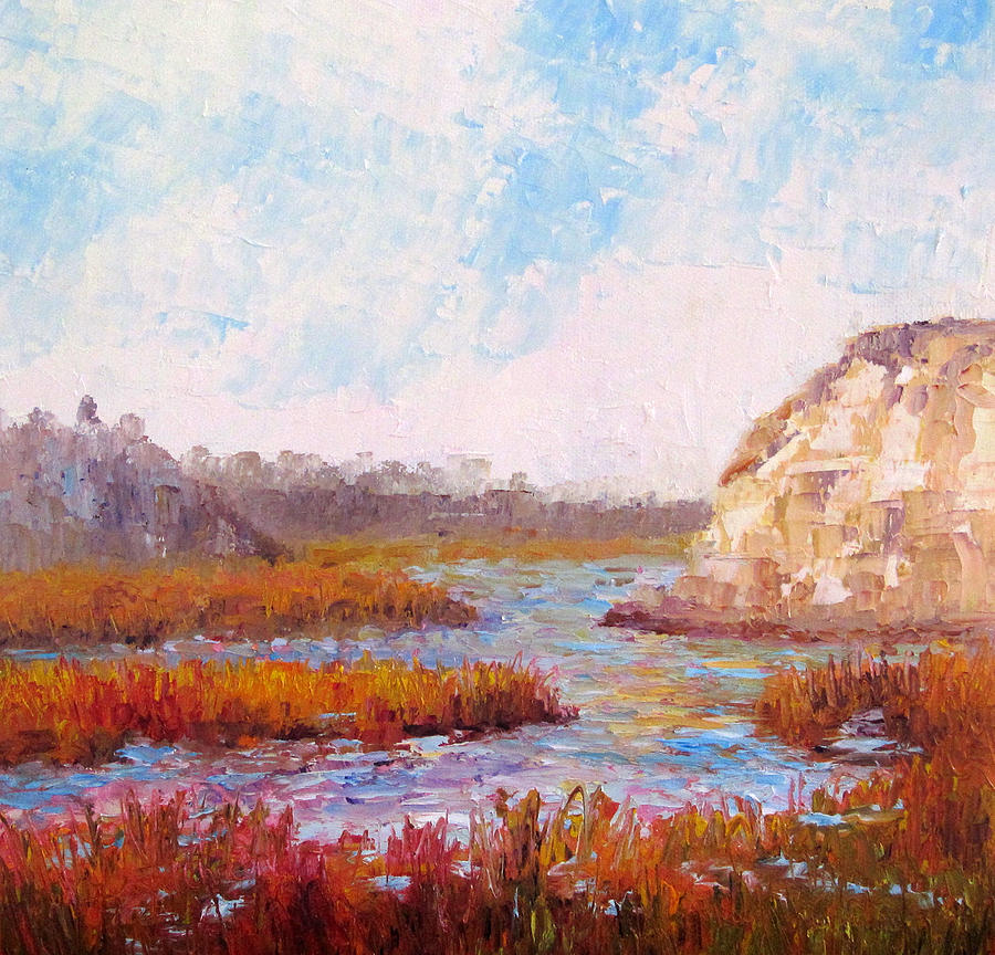 Water Painting - Winter At The Back Bay by Terry  Chacon