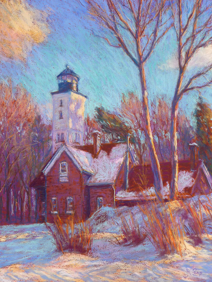 Impressionism Painting - Winter At The Lighthouse by Michael Camp