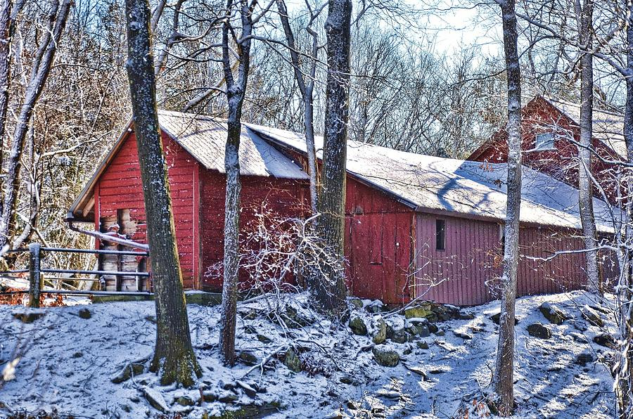 Landscape Photograph - Winter Barn by Nancy Rohrig