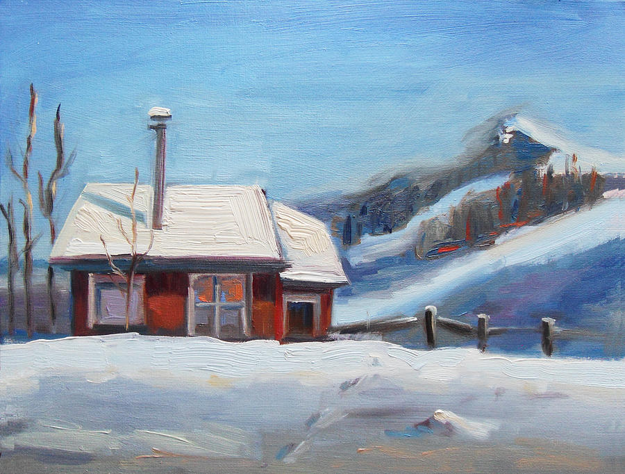 Winter Cabin Painting By Brandy Cattoor