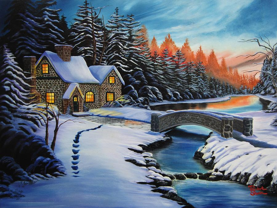 Winter Cottage Painting By Robert Steen