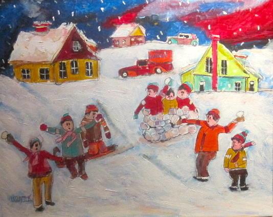 Winter Scene Painting - Winter Friends by Michael Litvack