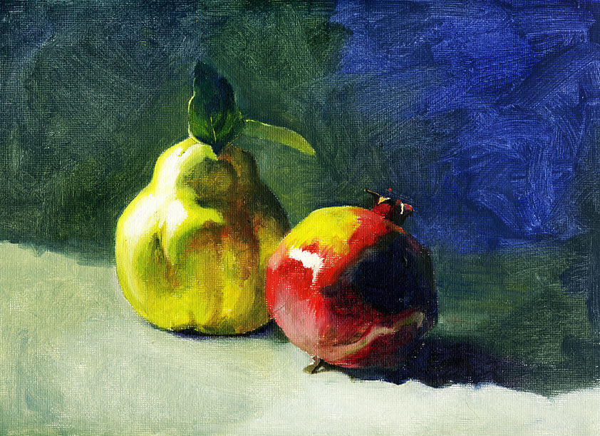 Quince Painting - Winter Fruits by Tatyana Holodnova