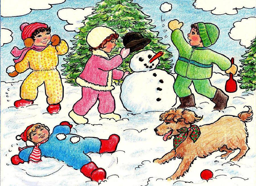 Winter Fun Drawing By Dee Davis