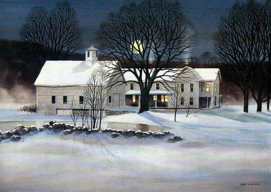 Winter Painting - Winter Glow by Karol Wyckoff