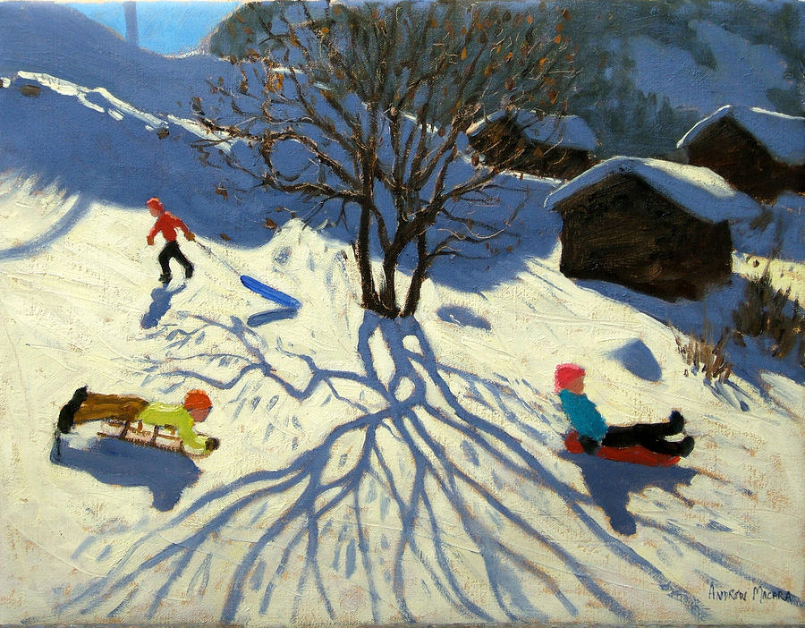 Sledging Painting - Winter Hillside Morzine France by Andrew Macara