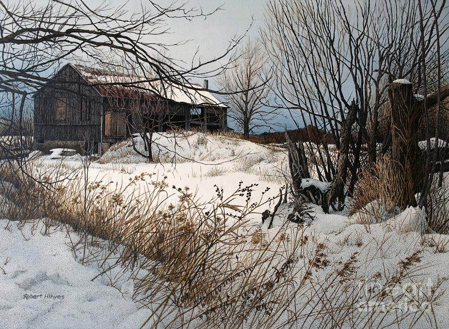 Barn Painting - Winter In Prince Edward County by Robert Hinves