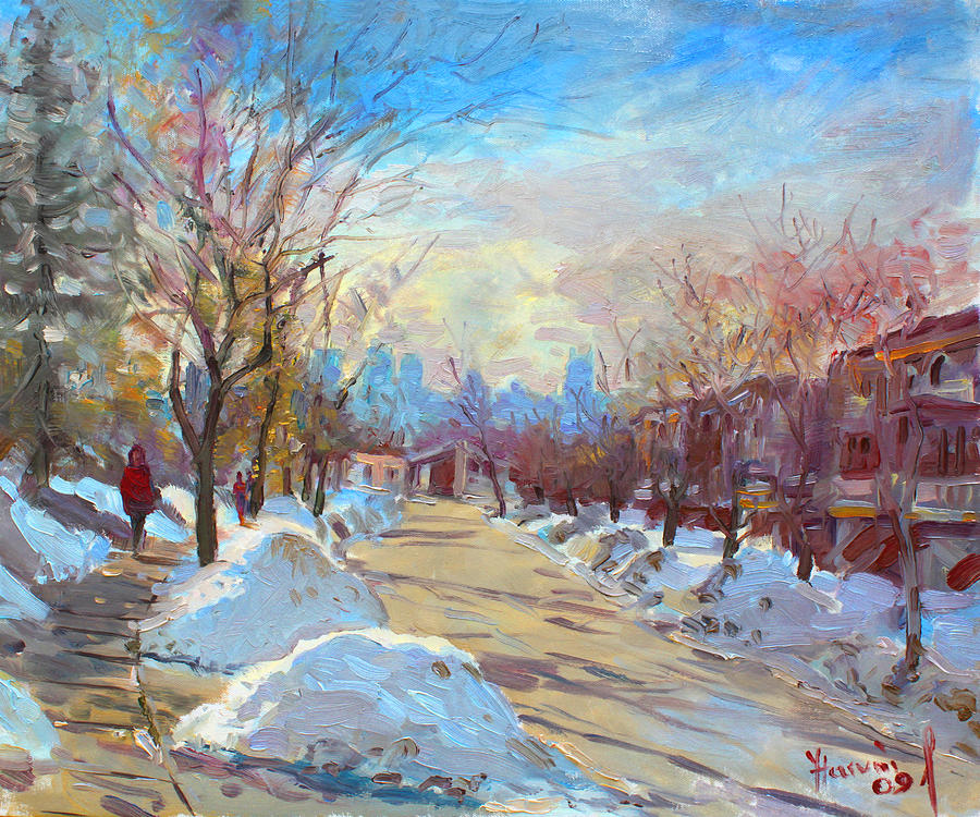Silverado Dr On Painting - Winter In Silverado Dr Mississauga On by Ylli Haruni