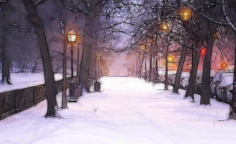Winter In The Street Painting By Steve K
