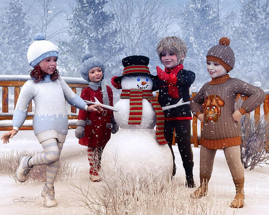 Winter Kids Digital Art By Jutta Maria Pusl