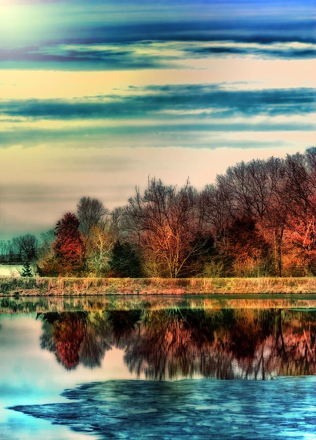 Trees Photograph - Winter Lake Fantasm by Bill Tiepelman