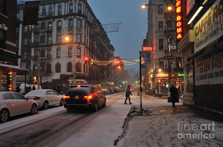 Little Italy Photograph - Winter Night On Mulberry Street by Ed Rooney