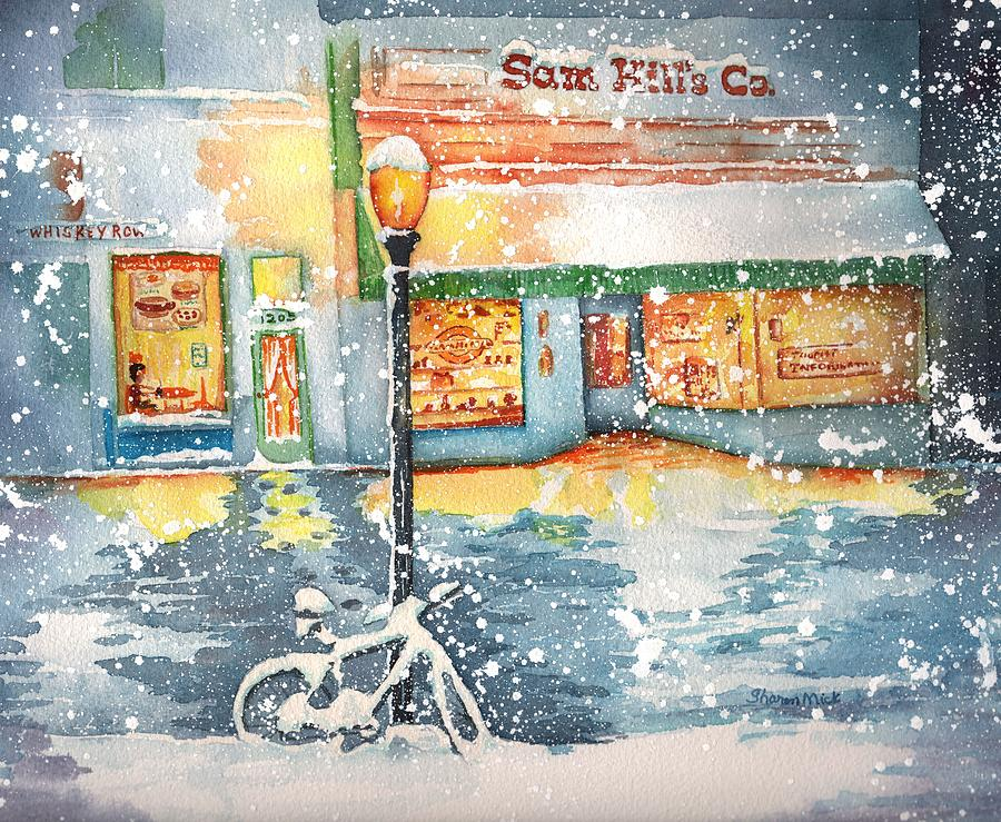 Sharon Mick Painting - Winter On Whiskey Row Prescott Arizona by Sharon Mick