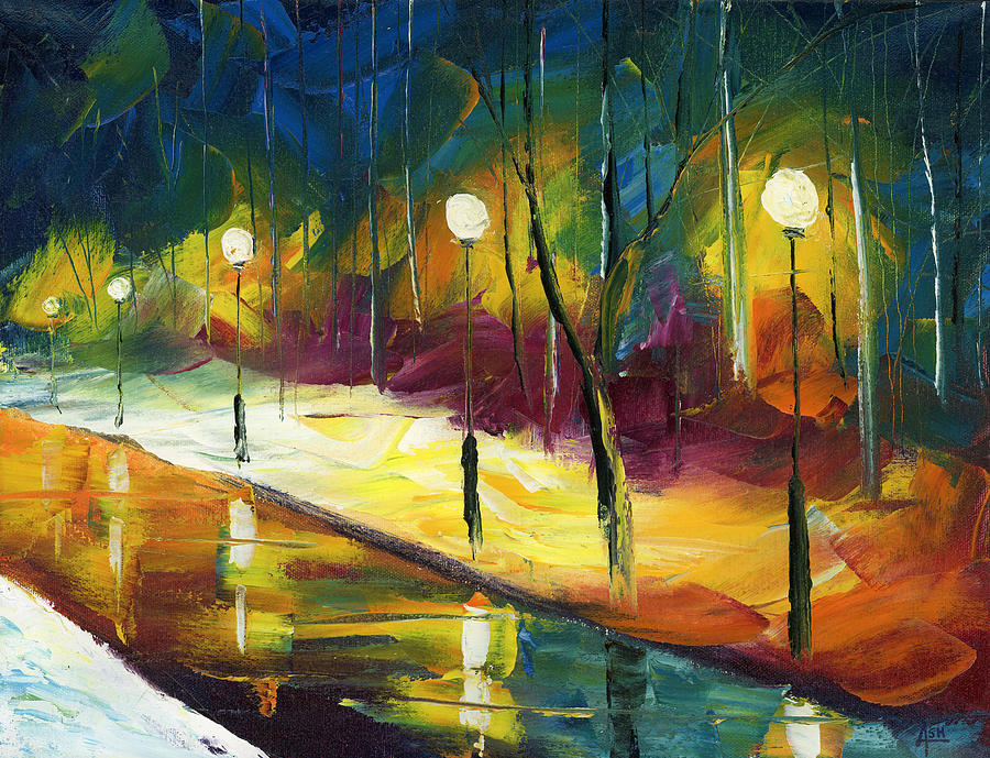 Oil Painting Art Artwork Acrylic Impressionist Impressionism Palette Knife Texture Giclee Print Reproduction Colorful Bright Professional Street Road City Town Cities Europe Paris France Italy Spain Venice Canton Federal Hill Fells Point Patterson Park Baltimore Lights Posts Clouds Trees Path Forest Leaves Fall Autumn Reflection Water Rain Storm Evening District Lamp Night Evening Midnight Sky Winter Snow Ice Cold January December Christmas Color Colour Colourful Painting - Winter Park Evening by Ash Hussein