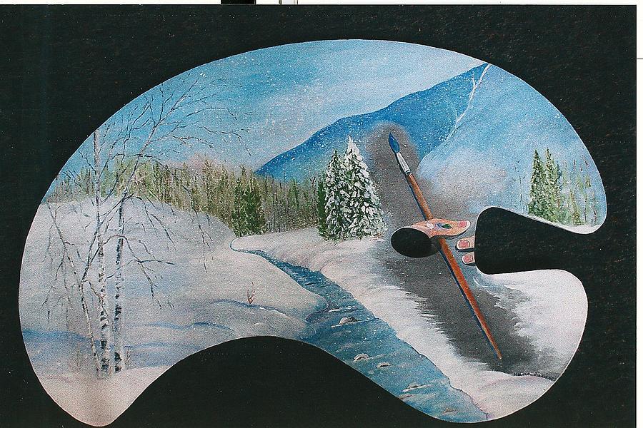 Winter Scene On Pallette Painting by Maureen Bieniarz-Pond