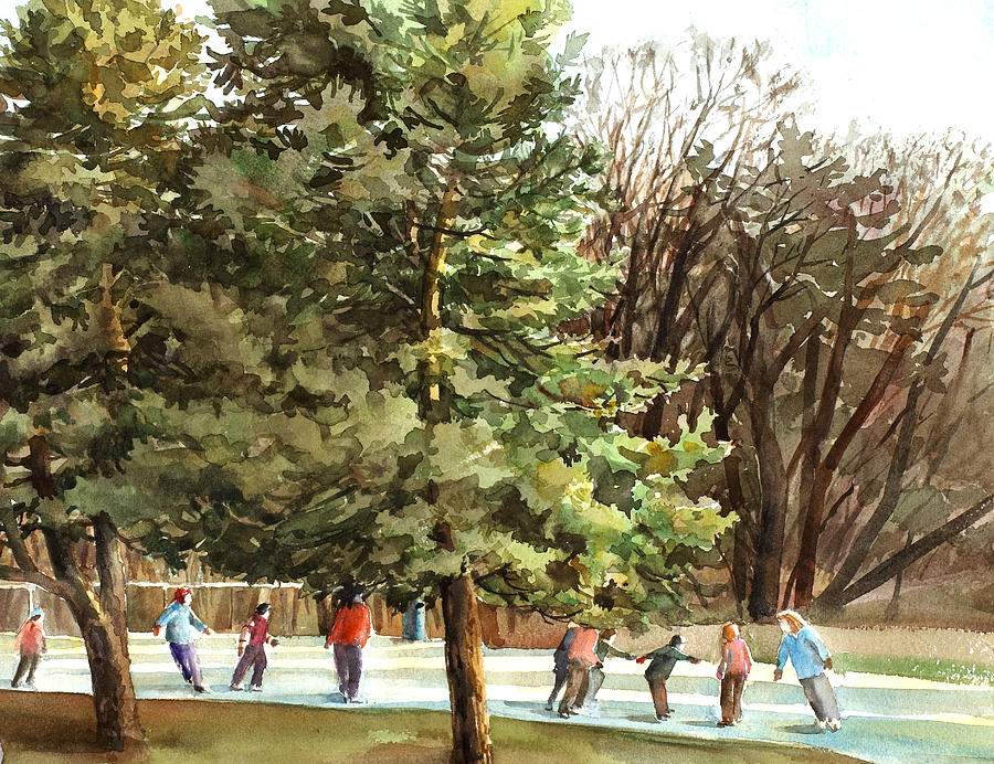 Skating Party Painting - Winter Skating by Peter Sit