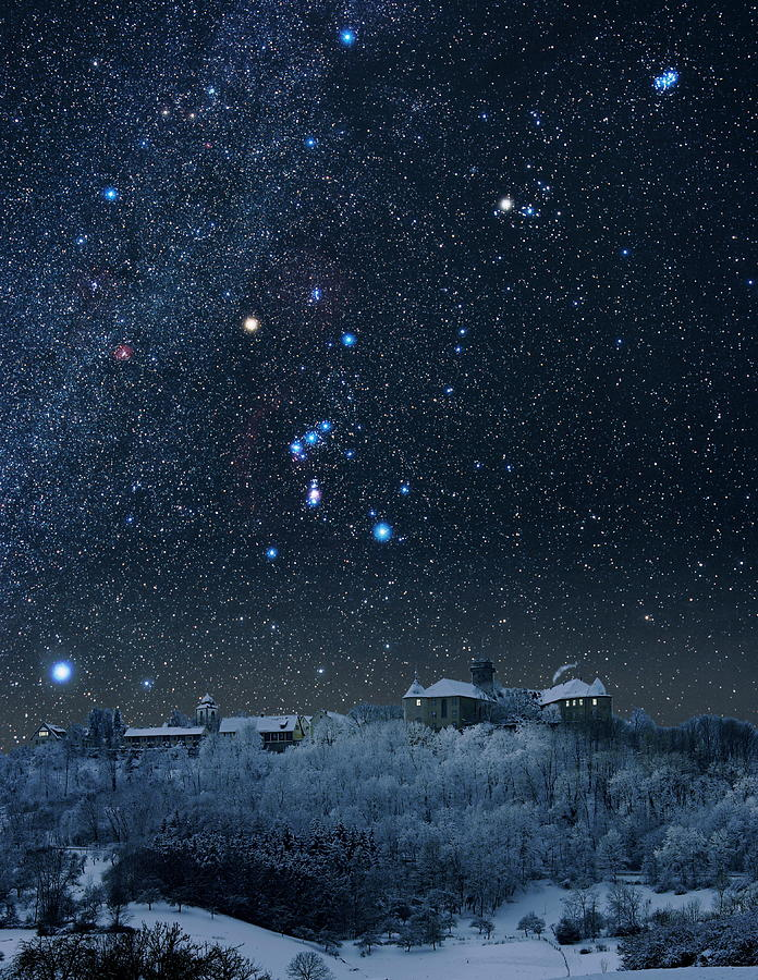 Orion Photograph - Winter Sky With Orion Constellation by Eckhard Slawik