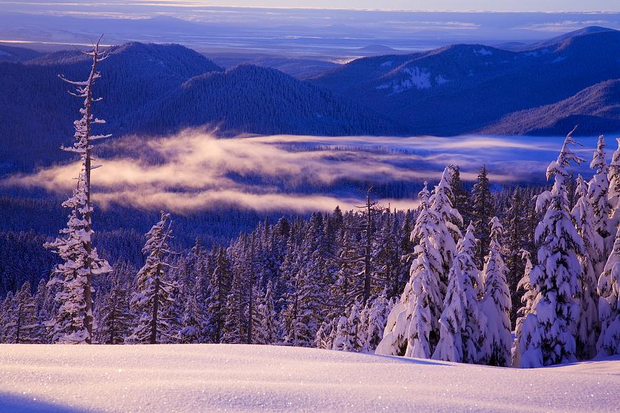 Beauty In Nature Photograph - Winter Snow, Cascade Range, Oregon, Usa by Craig Tuttle