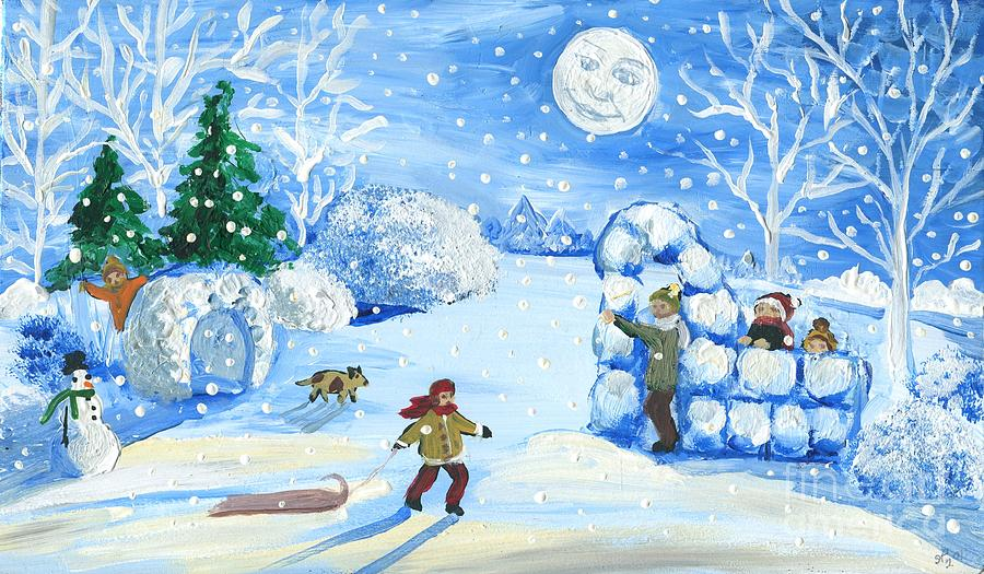картинка новогодние забавы снежки теневых тонов