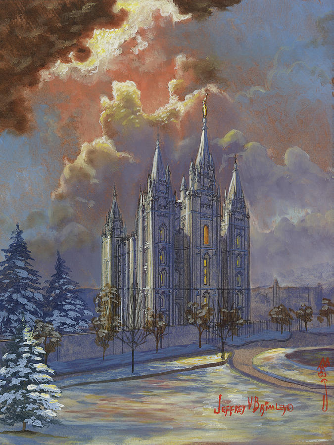Salt Lake Temple Painting - Winter Solace by Jeff Brimley