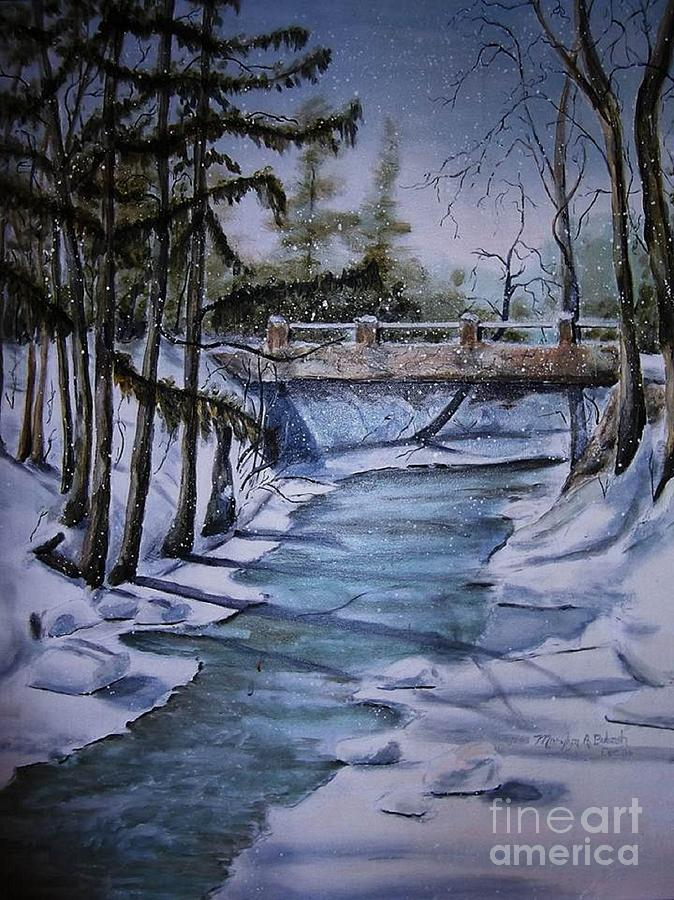 Snow Scene Painting - Winter Solitude by Marylyn Wiedmaier
