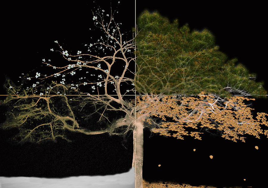 Tree Painting - Winter Spring Summer and Fall by Gray  Artus