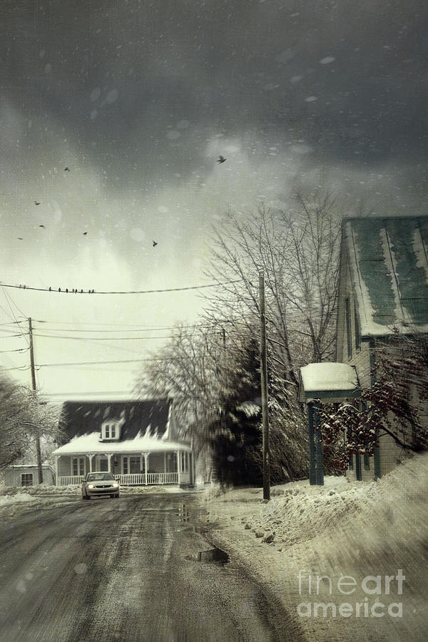 Alone Photograph - Winter Street Scene With A Car In A Small Town  by Sandra Cunningham