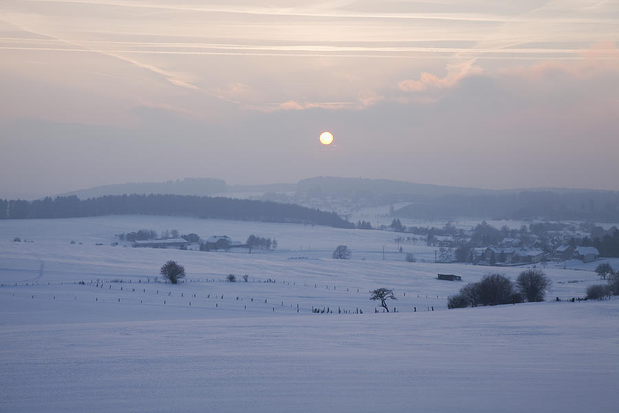 Calm Photograph - Winter Sunrise Westerwald by Peter Zoeller