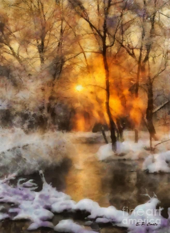 Sunset Painting - Winter Sunset by Elizabeth Coats