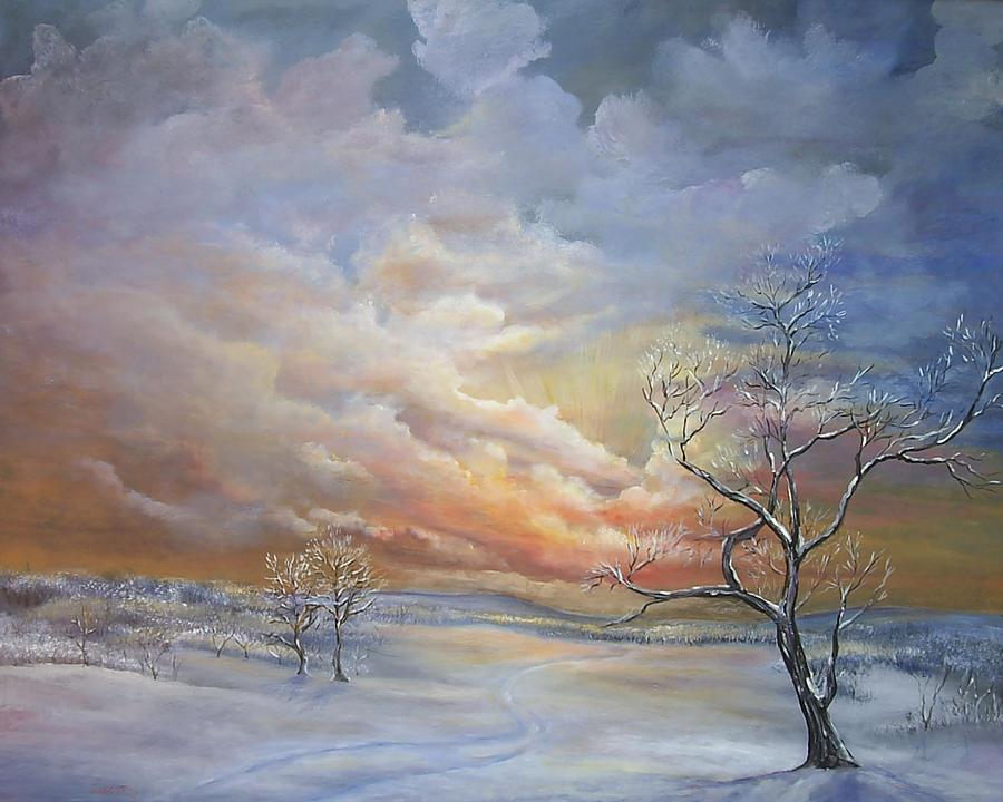 Winter sunset Painting by Katalin Luczay