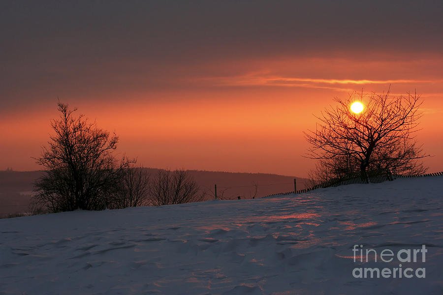 Twilight Photograph - Winter Sunset by Michal Boubin