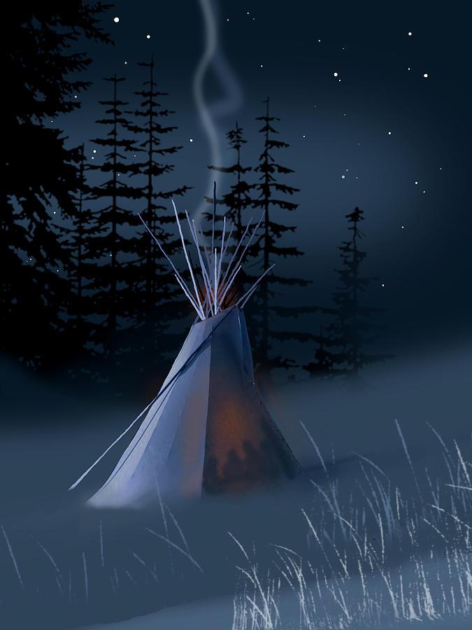 Native Americans Painting - Winter Teepee by Paul Sachtleben
