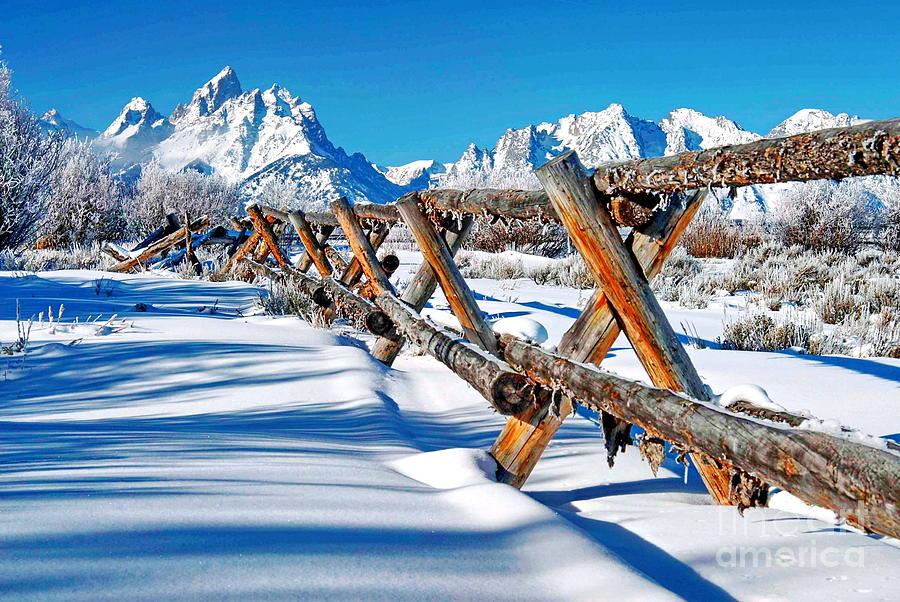 Mountains Photograph - Winter Tetons Fence by Richard Brady