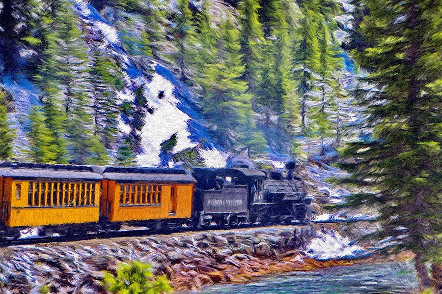 Durango Painting - Winter Train by Jeffrey Kolker