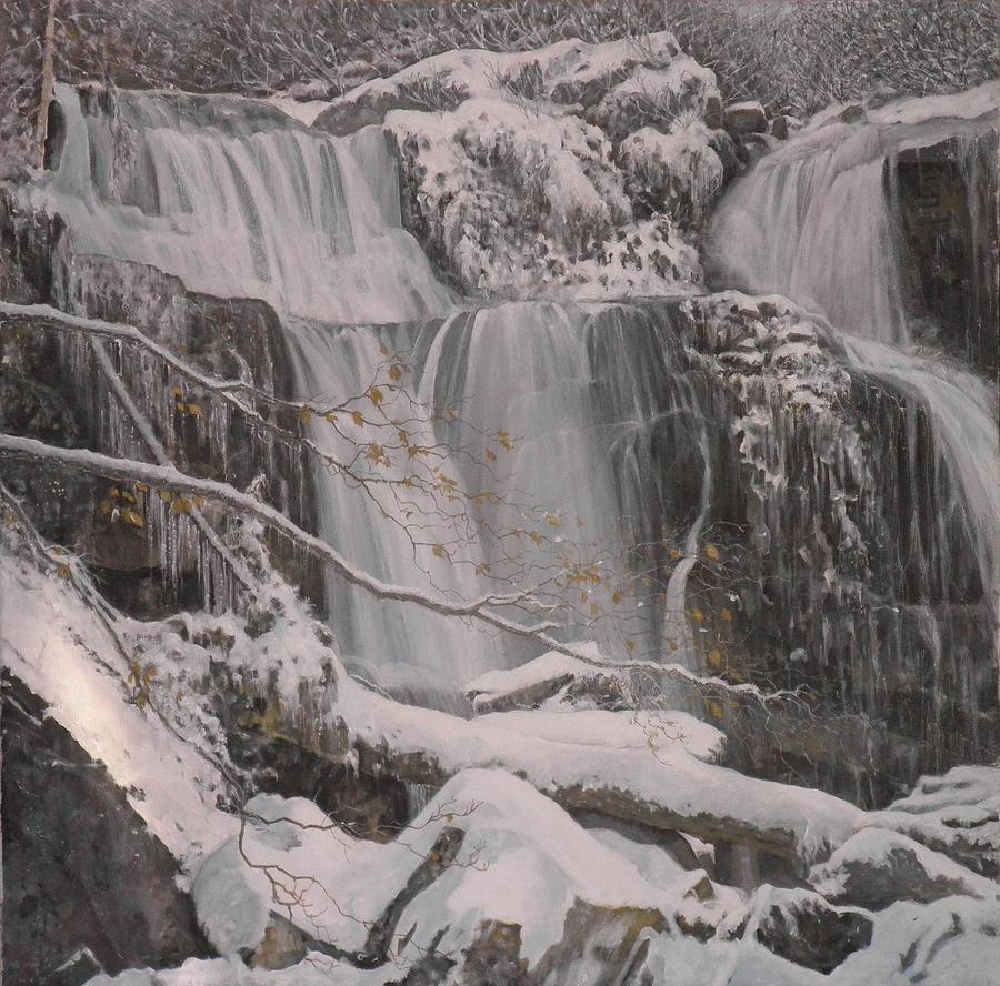 Winter Waterfalls Painting by Giacomo Alessandro Morotti