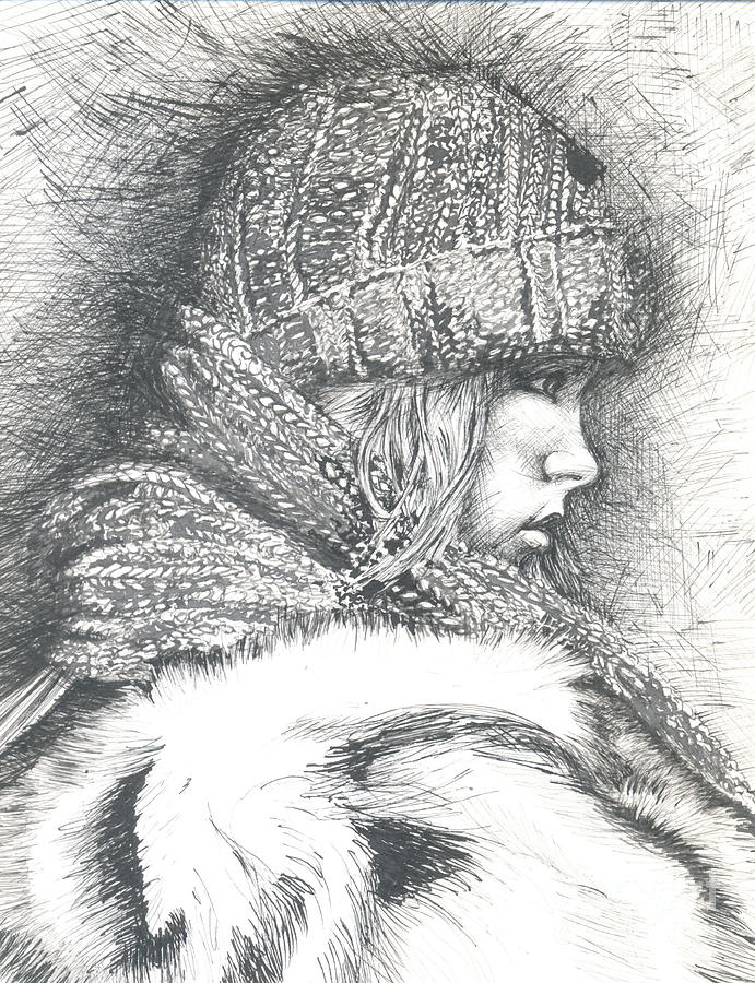 Ink Drawing - Winter Winter.... So What by Jovica Kostic