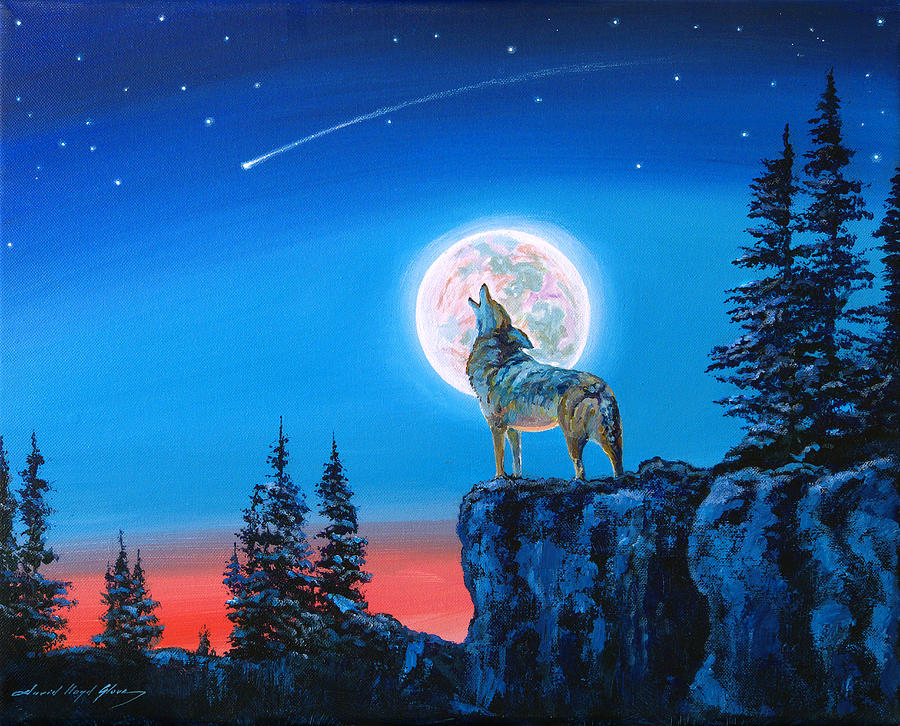 Winter Wolf Moon Painting By David Lloyd Glover
