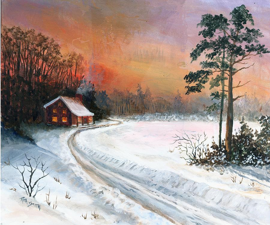 Sunset Painting - Winters Glow by Rita Smith