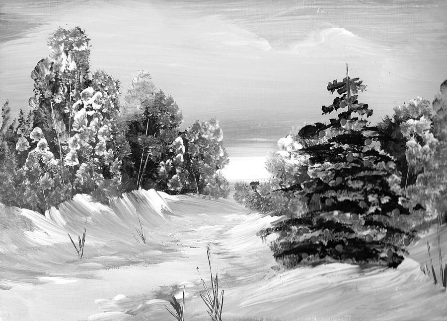 Wintery Christmas Evening Painting by Ginger Lovellette