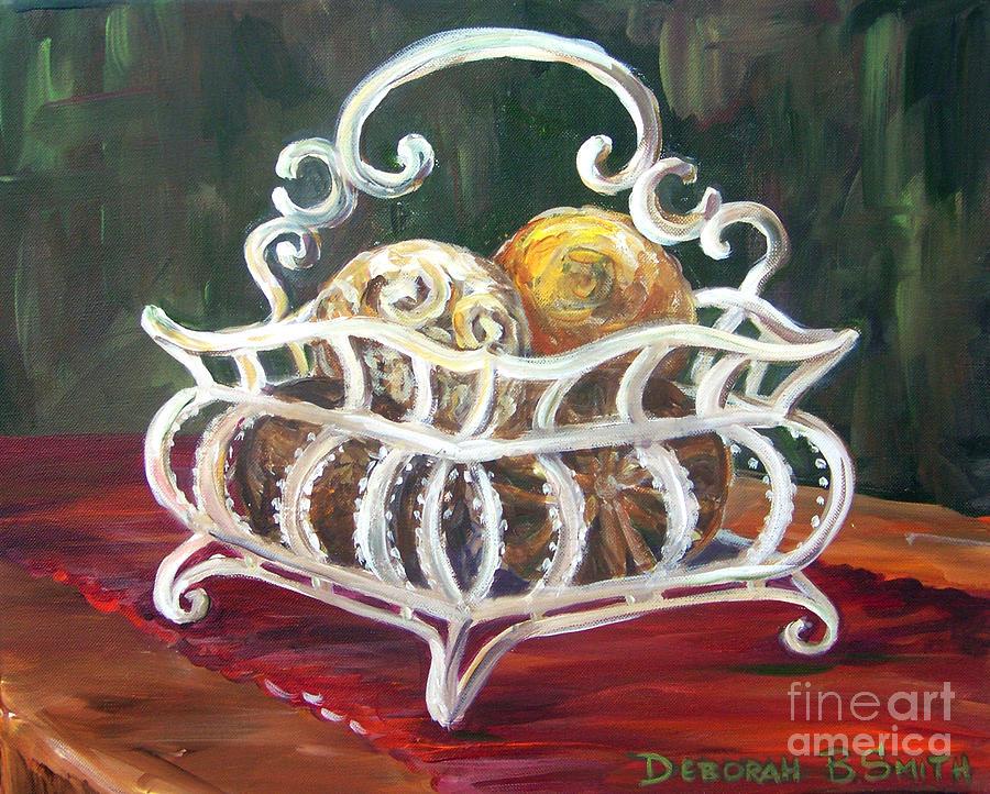 Basket Painting - Wire Basket by Deborah Smith