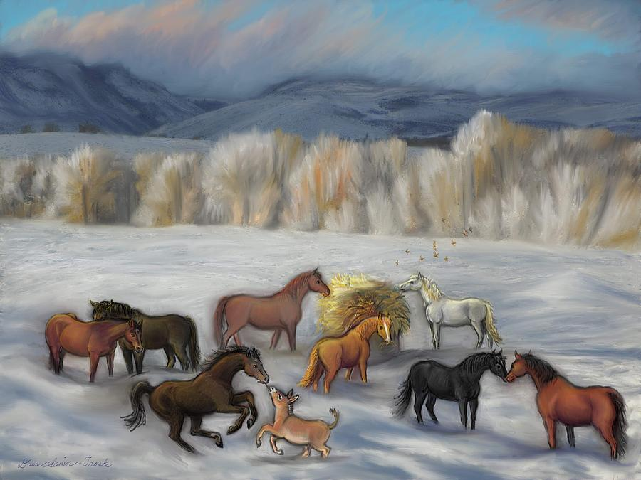 Horse Painting - Wishing You Peace  Joy  Abundance And Love Throughout The New Year by Dawn Senior-Trask