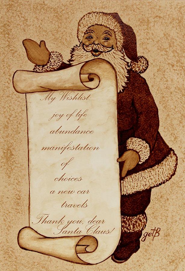 Christmas Cards Painting - Wishlist For Santa Claus  by Georgeta  Blanaru