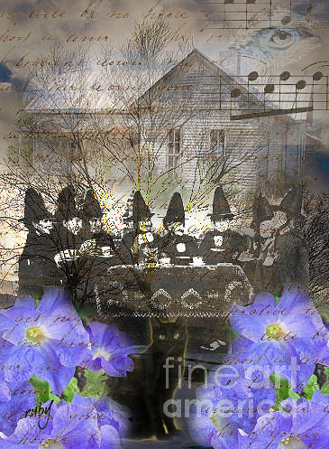 Art;vintage;witch;haunted House;tea;halloween;digital Collage;unique;one Of A Kind Digital Art - Witch Tea Party by Ruby Cross