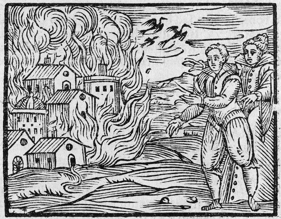 Witches Burning A Town, 17h Century