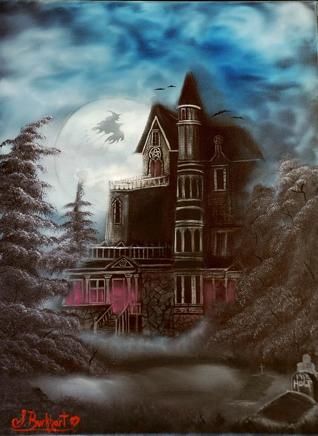 Haunted House Painting - Witches Hollow 2011 by Shawna Burkhart