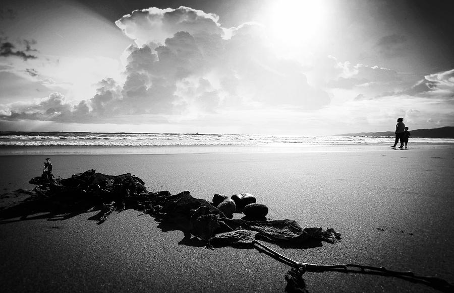 Beach Photograph - With Mother by Jalai Lama